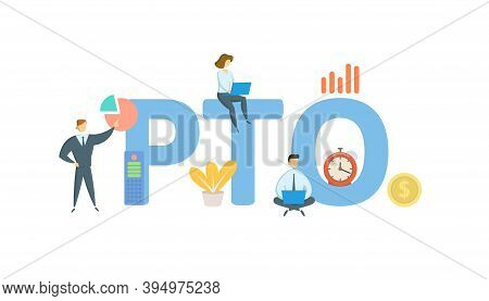 Pto, Paid Time Off. Concept With Keywords, People And Icons. Flat Vector Illustration. Isolated On W