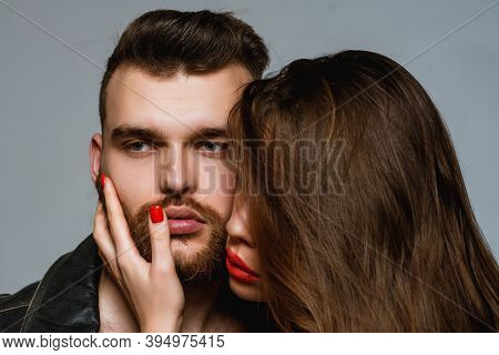 Man Brutal Well Groomed Macho And Attractive Girl Cuddling. Girlfriend Passionate Red Lips And Man L