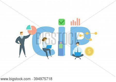 Cip, Carriage And Insurance Paid. Concept With Keywords, People And Icons. Flat Vector Illustration.