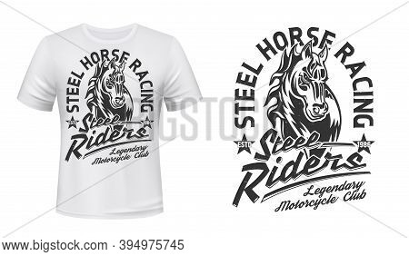 Horse Stallion Head T-shirt Vector Print. Courser Or Trotter, Horse With Waving Mare Illustration An