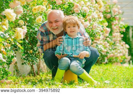 Grandfather And Grandson. Old And Young. Concept Of A Retirement Age. His Enjoys Talking To Grandfat