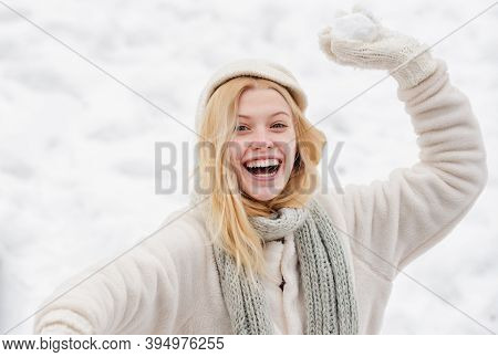 Happy Winter Time. Cute Playful Young Woman Outdoor Enjoying First Snow. Portrait Of A Happy Woman I