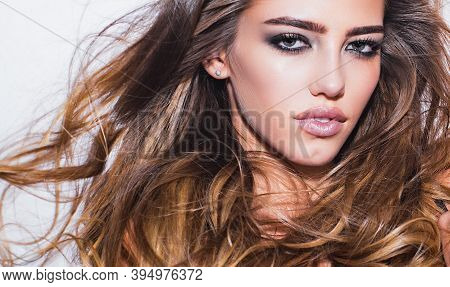 Close Up Of Beauty Woman Portrait. Beautiful Face. Beauty Model Girl With Healthy Hair. Fashion And