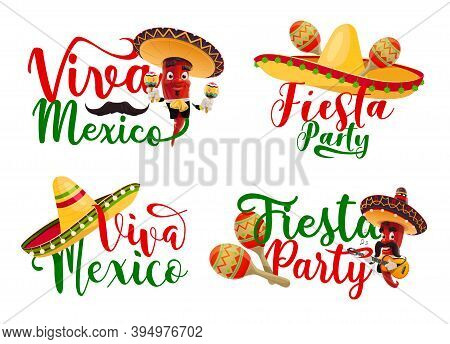 Viva Mexico Vector Icons Set With Mexican Fiesta Party Chilli Mariachi Characters. Cartoon Red Peppe
