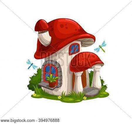 Gnome, Dwarf Fairytale House Or Hut In Mushroom Cartoon Vector. Fairy Creature Magic Home With Chimn