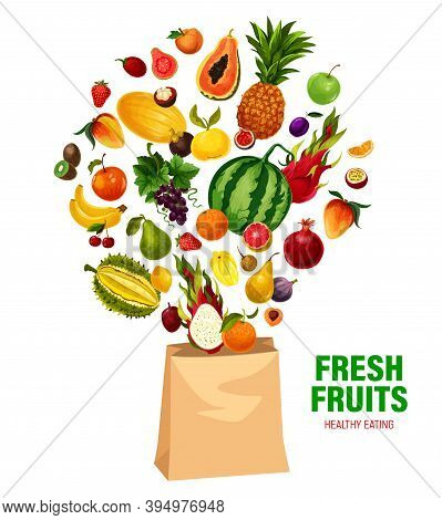 Fresh Fruits Vector Healthy Eating In Shopping Bag. Cartoon Garden And Tropic Exotic Fruits Durian,