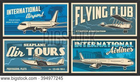 Plane And Airport Retro Banners Of Vector Air Travel, Flying Club And Passenger Transportation. Airp