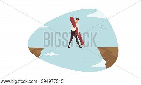 Anticrisis Solution, Business, Leadership Concept. Businessman Leader Clerk Manager Cartoon Characte