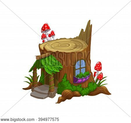 Gnome Or Dwarf House In Old Tree Stub Cartoon Vector. Fairytale Or Folklore Creature, Forest Pixie T