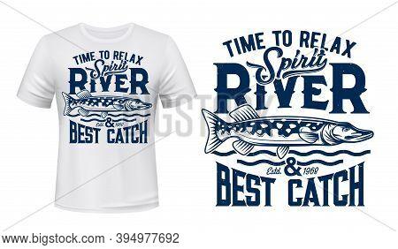 Pike Fish T-shirt Vector Print Mockup. Northern Pike, River And Lake Freshwater Carnivorous Fish, Wa