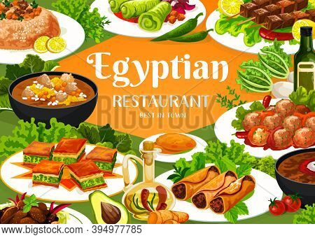 Egyptian Food Restaurant Vector Banner. Trotter Soup And Sardine Patties, Lamb With Prunes, Stuffed