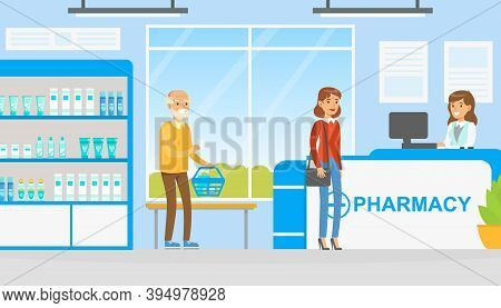 People Buying Tablets And Pills In Pharmacy, Woman Pharmacist Helping Them To Choose Medications, Mo