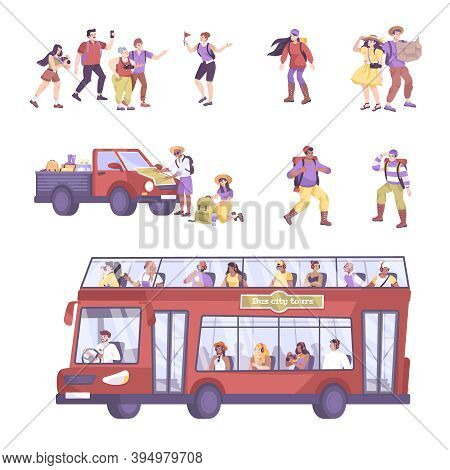 Excursion Set With Isolated Icons And Flat Characters Of Tourists With Guide And Doubledecker Sights