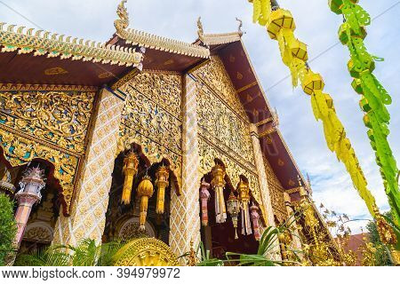 Wat Phra That Hariphunchai Pagoda With Light Festival At Lamphun, Thailand.