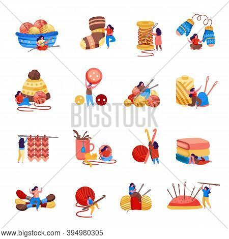 Knitting Flat Set Of Isolated Icons With Clews Buttons And Knitwear With Small Doodle Human Characte