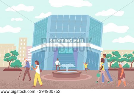 Vector Illustration Of Mall Building And Citizens Going To Make Purchases In City Shopping Center Fl