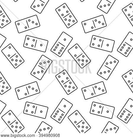 Vector Seamless Domino Pattern. Texture Of Domino Dice In A Linear Style.