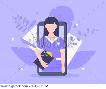 Online Doctor Medical Service Concept With Doctor In The Smartphone Vector Illustration. Telemedicin