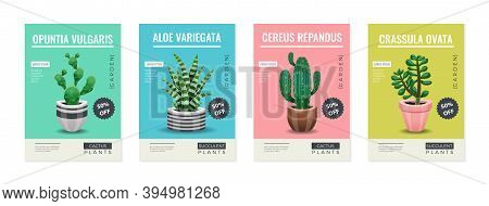 Cactus Set Of Four Vertical Posters With Editable Text And Images Of Cactus Plants In Pots Vector Il
