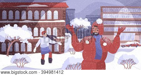 Weather Snowfall Flat Composition Of Outdoor Scenery With Banks Of Snow On Houses Cars With People V