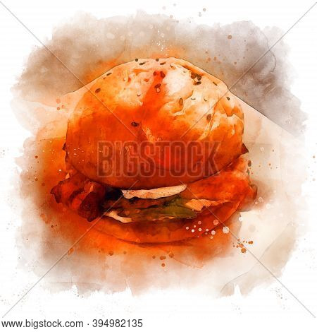 Big Burger Watercolor. Isolated On White Background, Square Framing. Drawing Of A Juicy Burger With