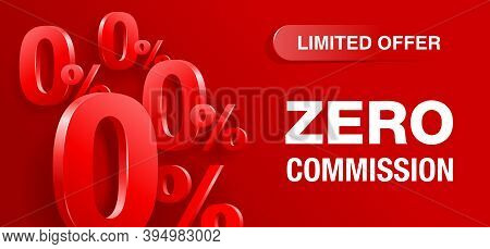 Zero Percent Commission Wide Red  Banner - 3d 0 And Percent Symbols On Red And Purple Colorful Abstr