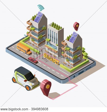 Isometric Smart City With Car, Road, People, Green Eco Friendly Modern Buildings And Transportation