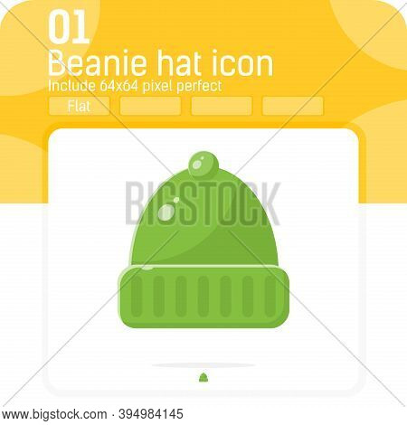 Fisherman Beanie Premium Icon With Flat Style Isolated On White Background. Vector Illustration Cart
