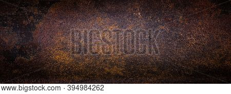 Rough Rusty Metal Texture. Dark Background Image.
