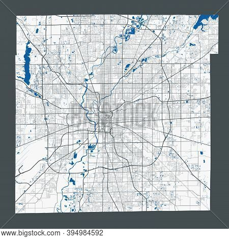 Indianapolis Map. Detailed Map Of Indianapolis City Administrative Area. Cityscape Panorama. Royalty