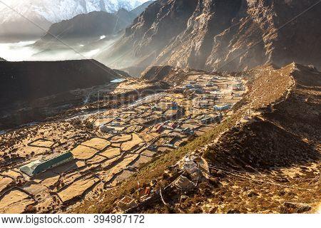 Amazing View Over Mountain Village Thame In Sagarmatha National Park, Himalayas, Nepal. Creative Pho