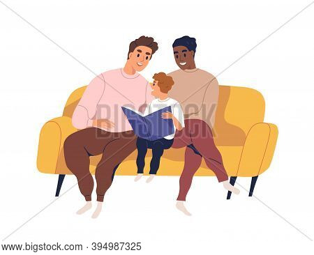 Homosexual Married Couple Spend Time Together With Son. Loving Gay Fathers And Child Embracing On So