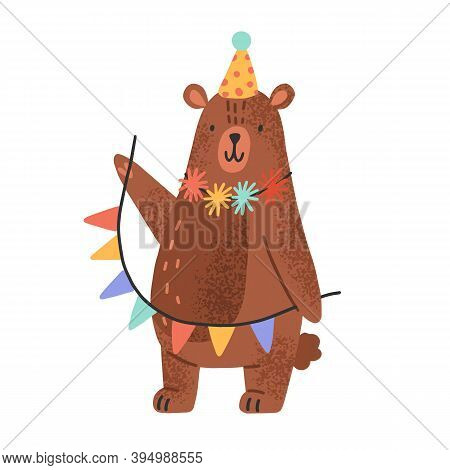 Cute Teddy Bear Wearing Party Cap And Holding Garlands. Funny Animal Cub In Scandinavian Style Celeb