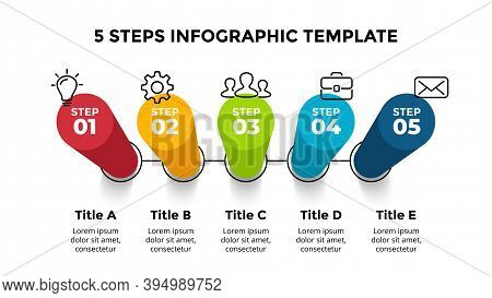 3d Vector Perspective Infographic. Presentation Slide Template. 5 Step Options. Chart Concept. Color