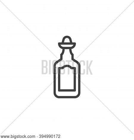 Tequila Bottle Line Icon. Linear Style Sign For Mobile Concept And Web Design. Bottle Of Tequila Wit