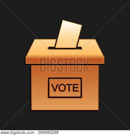 Gold Vote Box Or Ballot Box With Envelope Icon Isolated On Black Background. Long Shadow Style. Vect