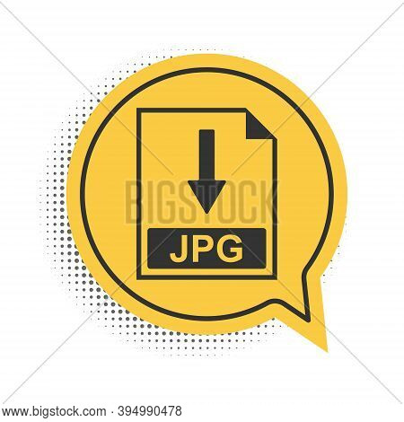 Black Jpg File Document Icon. Download Jpg Button Icon Isolated On White Background. Yellow Speech B