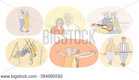 Senior Elderly Couple Living Happy Active Lifestyle Concept. Mature Aged Couple Pensioners Loving, S