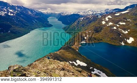 Classic View From The Besseggen Ridge In Norway.