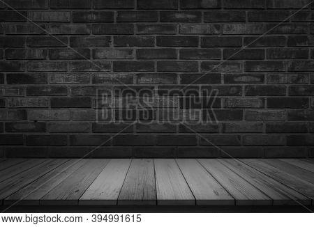 Empty Wooden Table On Black Dark Brick Wall Background, Design Wood Terrace Floor Surface. 3d Illust