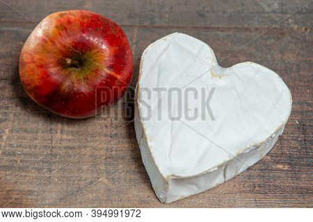 French Neufchatel Cheese Shaped Heart With An Organic Apple