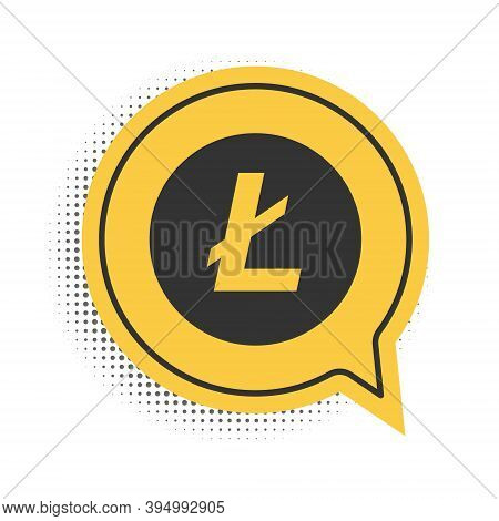 Black Cryptocurrency Coin Litecoin Ltc Icon Isolated On White Background. Digital Currency. Altcoin