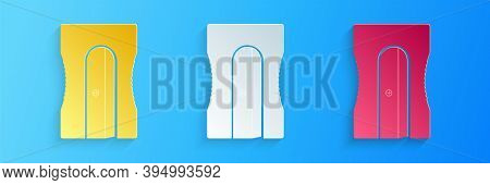 Paper Cut Pencil Sharpener Icon Isolated On Blue Background. Paper Art Style. Vector