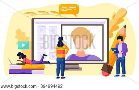 Video Conference And Online Conversation Vector Concept. People Connecting Together, Learning Or Mee
