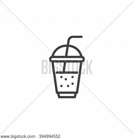 Milkshake Cup Line Icon. Linear Style Sign For Mobile Concept And Web Design. Takeout Coffee Cup Out