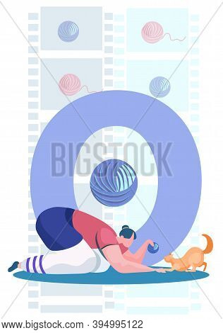 Young Girl Squatted Down Playing With Her Ginger Cat. Funny Game With Little Pet. Flat Cartoon Style