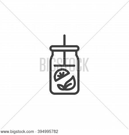 Fresh Tea Jar Line Icon. Linear Style Sign For Mobile Concept And Web Design. Mojito Cocktail Glass