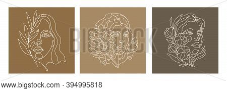 Vector Set Of Portraits Of Women With Flowers. Continuous Line Drawing Of A Woman S Face With A Magn