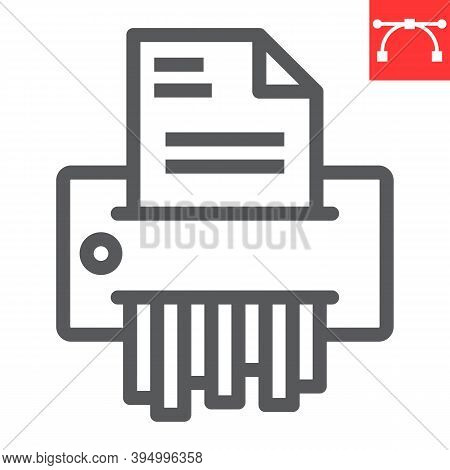 Paper Shredder Line Icon, Security And Paperwork, Document Shredder Sign Vector Graphics, Editable S