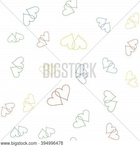 Color Two Linked Hearts Icon Isolated Seamless Pattern On White Background. Heart Two Love. Romantic
